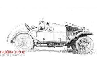1914 Woodrow Cyclecar - Original A4 Pencil Sketch
