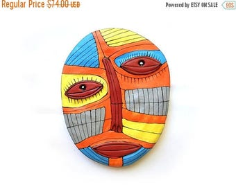 Colorful wall mask, Contemporary bright art, Unique wall mask, Colorful modern face, Mixed media mask, Abstract art face, Bright color face