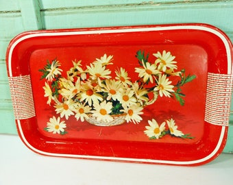 Vintage Red Metal Snack Tray with Basket of Daisies and Faux Rattan Handles