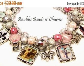 Sale Vintage Paris Charm Bracelet, Paris Jewelry, French Charm Bracelet, French Jewelry, Altered Art Charm Bracelet, France