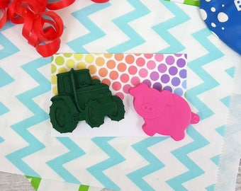 Farm Crayon Party Favour - Party Bag filler - Mini Gift Set - Wedding Favours - Made to Order - Handmade Crayons - Farm Themed Party