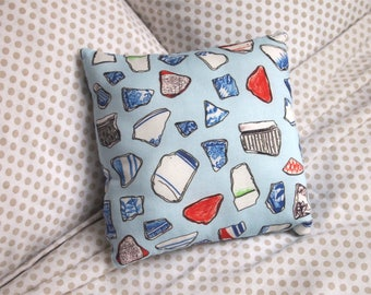 handmade beach pottery pattern small scatter cushion - double sided
