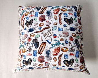 beachcombing pattern handmade scatter cushion