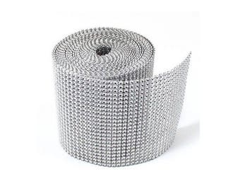 10 Yards 24 Rows Diamond Diamante Effect Trim Mesh Wedding Table Ribbon Cake Trimming  wide 4.5 inches