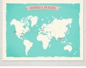 World Map with 4 locations Custom Wedding Print Destination Wedding Gift Couple print alternative Signature Guest Books Signature Map