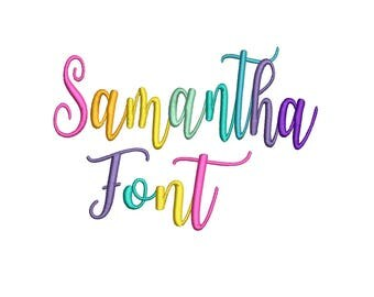 Samantha Machine Embroidery Font  - Instant Download