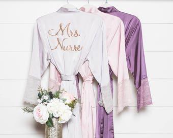 Lace Robes - Bridesmaid Robes - Bridesmaid Gift - Bridal Robe - Satin & Lace Robe - Bride Robe - Wedding Party Robes