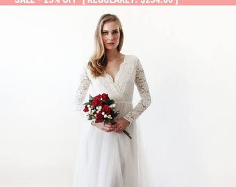 25% OFF! Ivory tulle and lace long sleeves wedding gown, Tulle and lace bridal gown, Tulle wedding empire dress 1125.