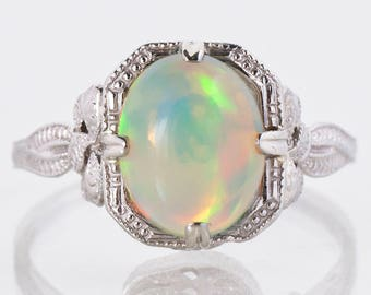 Antique Ring - Antique 14k White Gold Crystal Opal Bow Ring