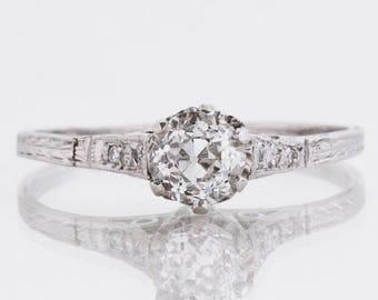 Antique Engagement Ring - Antique 1910's 18k White Gold Diamond Solitaire Engagement Ring