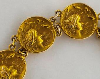 Antique Bracelet - Antique Art Nouveau 14k Yellow Gold Hand-Carved Bracelet