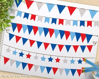 4th of July, Independence Day Bunting, Banners, Flags, stars, stripes, USA, America, Patriot, Commercial Use, Vector Clipart, SVG Cut Files