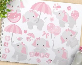 Girl Elephant, Baby Shower clipart, bird clipart, baby girl, new baby, cute elephant clip art, commercial use, vector clipart, SVG cut file