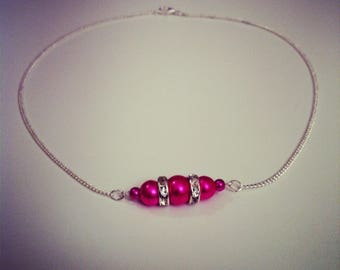 Silver plated necklace pearls rhinestones and fuchsia
