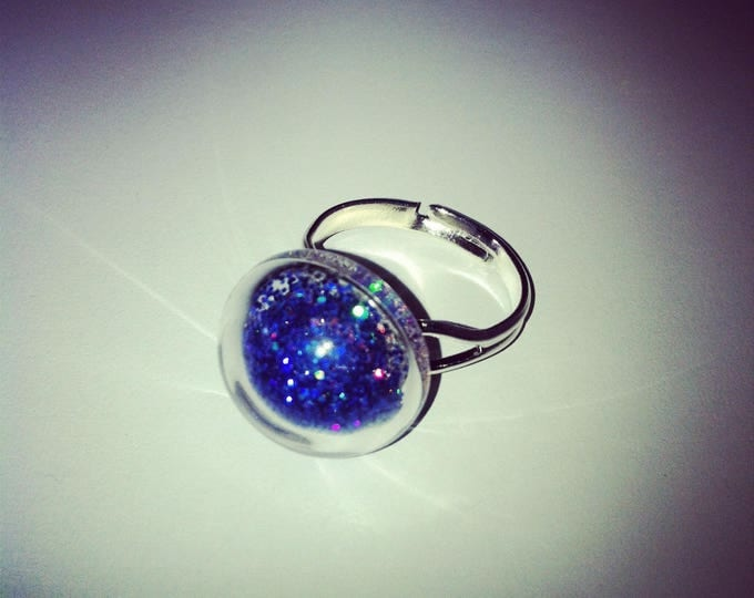 Round blue glass with holographic glitter dome ring