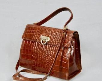 On Sale 30% Off HARRODS London Vintage 100 Percent Leather Crocodile Print Kelly Type Shoulder Bag