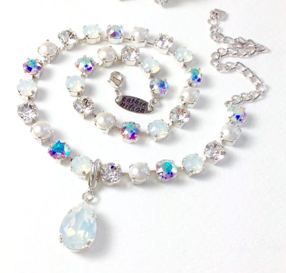 "Swarovski Crystal 8.5mm Necklace ""Bridal Whites"" with Pearls - White Opal, AB, Crystal & Pearls - Designer Inspired - FREE SHIPPING"