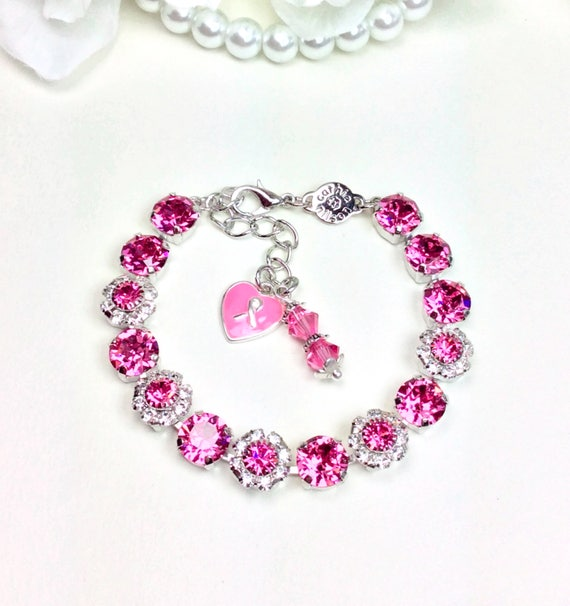 "Swarovski Crystal 8.5mm Bracelet With Flowers - October Tribute to All of the ""Warriors in Pink""  -Designer Inspired - FREE SHIPPING"