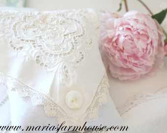 BRIDAL  KEEPSAKE SACHET, French Dried Lavender Sachet w/Hand Embroidered Cutwork Design & Edge Lace, Mother of Pearl Button