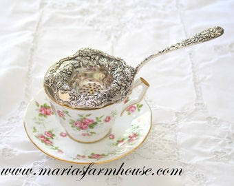 TEA STRAINER, Silver Plated, Tea Strainer by Godinger, Victorian Tea Party, Tableware, Collectible