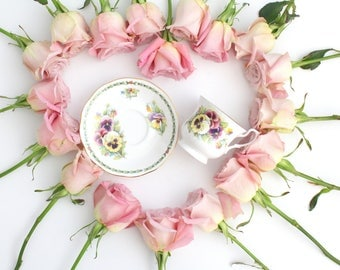 APRIL Tea Cup and Saucer by Queen's English Fine Bone China, April Birthday Gift Inspiration, Tea Party