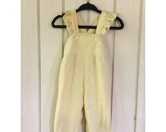 Vintage Yellow 1970s Girls Corduroy 'Health Tex' Jumpsuit/Romper. Size 6M