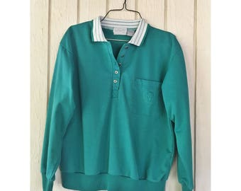 1990s TEAL Knit Golf Pullover Polo Shirt //White Collar// SizeM