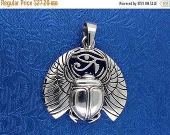 ON SALE Egyptian Scarab With Eye of Horace - Solid 925 Silver - All Seeing Eye - Magic Charm