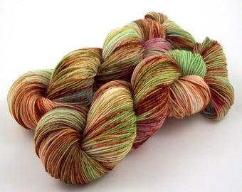 Celadon and Rust - Hand Dyed Speckled Sock Yarn - SW 75/25 - Superwash Merino Nylon - 400 yards - Dauphine