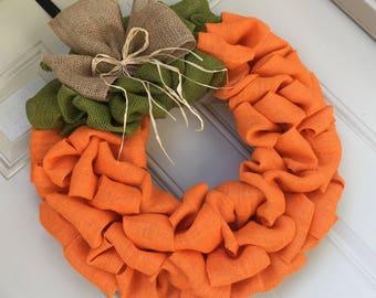 Orange Burlap Pumpkin Wreath