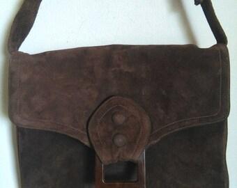 Vintage cocoa suede 70's purse