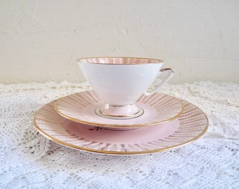Vintage TEA TRIO, Tea Cup, Saucer, and Plate. Pink/ White with Gold Rims and Floral Pattern. Stamped Rheinpfalz. China Trio, Tea Party.
