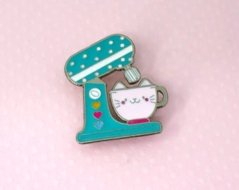 kitten mixer - soft enamel pin