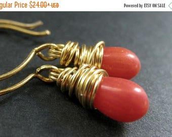 SUMMER SALE 14K Gold Earrings - Orange Coral Earrings. Orange Teardrop Earrings. Wire Wrapped Earrings. Handmade Jewelry.