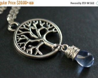 VALENTINE SALE Tree Necklace in Silver. Tree of Life Necklace. Wire Wrapped Blue Teardrop Necklace. Handmade Jewelry.