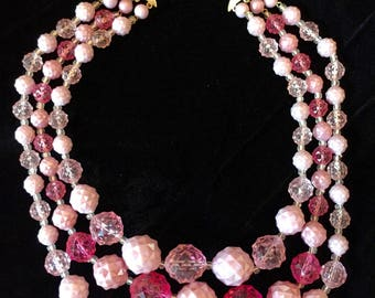 Retro/Vintage Chunky Triple-strand cotton-candy-pink 60's choker necklace