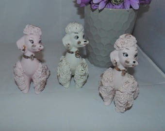 3 Vintage 1950s National Potteries Napco Spaghetti Poodles Pink White Figurines