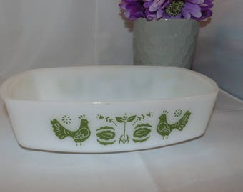 Vintage 1960's Federal Milk Glass Green CHICKEN PATTERN Loaf Pan