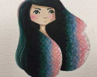 Scaly original watercolor 5x7