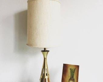 ON SALE Mid Century Westwood Brass and Walnut Accent Lamp