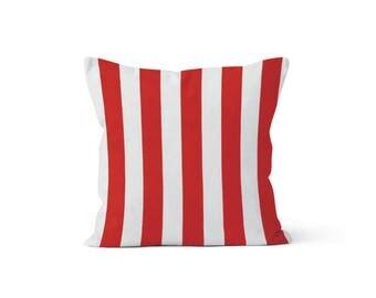 Red Stripes Pillow Cover - Canopy Lipstick - Lumbar 12 14 16 18 20 22 24 26 Euro - Hidden Zipper Closure