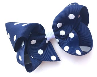 Navy blue polka dot hair bow - 4 inch navy blue bow, navy blue boutique bow, boutique bows, 4 inch bows, girls hair bows, girls bows, bows