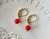 Red coral earrings gold dangle earrings Gold filled 14k Fine italian real coral jewelry everyday classical historical italian jewellery