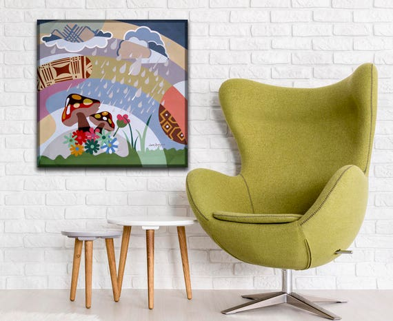 Abstract Landscape Painting Original Acrylic Art Design Showers of Blessings, Original Cubist Painting, Abstract Landscape Art