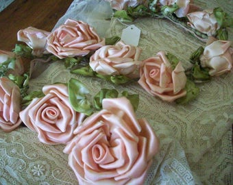 Large ribbon roses antique authentic ribbon work sold by the flower