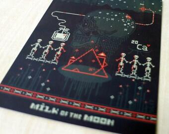 5 x postcard set / postcards / cards / Milk of the Moon / skeleton art / skeletons / Halloween art / greeting cards / pixel art / game art