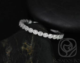 Rosados Box Ready to Ship Petite Bubbles 14kt YELLOW Gold Diamonds WITH Hand Milgrain Beading ALMOST Eternity Band