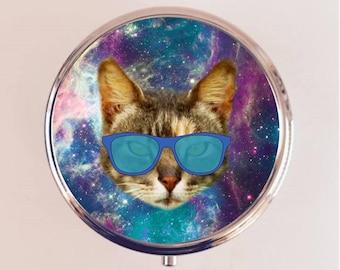 Outerspace Cat Pill Box Case Pillbox Holder Trinket Stash Box Universe Kawaii Eye Glasses Universe Space Animal Art