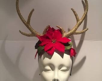 Antler Headband -Gold Antlers- Christmas headband- Antlers- Reindeer Antlers- Boho- Music Festival -Flower and Antler Headband- Burner-
