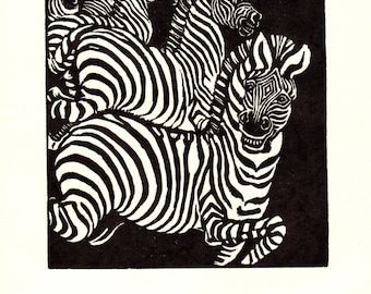 Wuanita Smith-Wild Zebras-1938 Woodblock